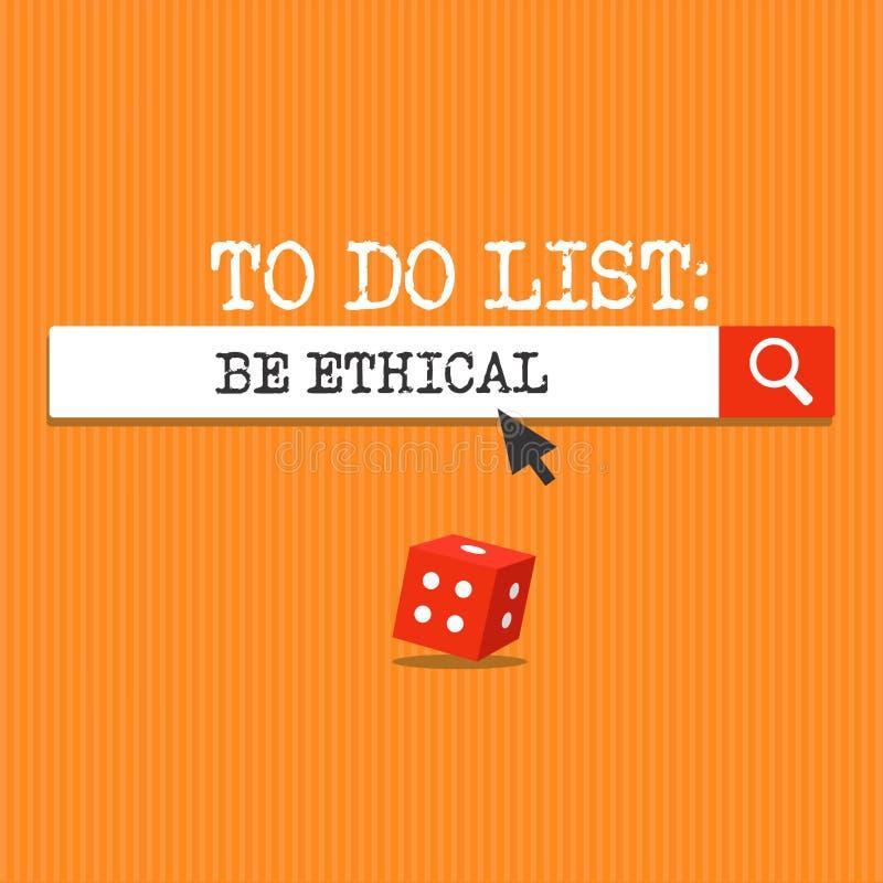 De handschrifttekst die Lijst schrijven te doen Ethisch is Concept het betekenen plant of herinnering die in een ethische cultuur vector illustratie