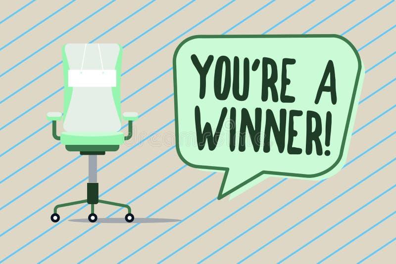 De handschrifttekst die u schrijven aangaande is een Winnaar Concept die het Winnen betekenen als 1st plaats of kampioen in de co stock illustratie