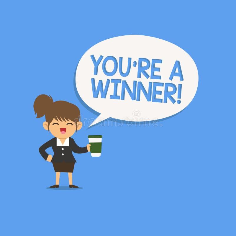 De handschrifttekst die u schrijven aangaande is een Winnaar Concept die het Winnen betekenen als 1st plaats of kampioen in de co vector illustratie