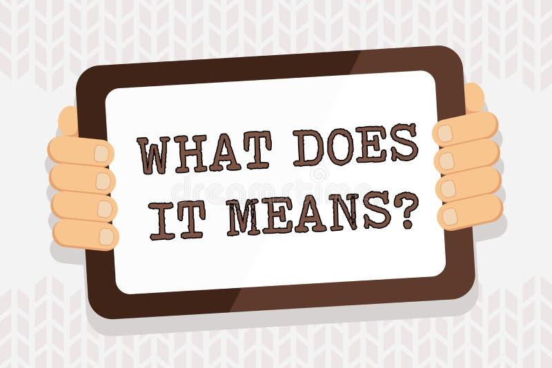 De handschrifttekst die wat schrijven het doet betekent vraag Het concept die het vragen betekenen betekenend iets zei en niet stock illustratie