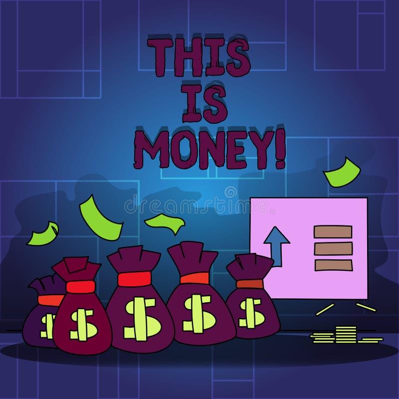 De handschrifttekst dit is Geld Concept die Grote opbrengsten van het werk of investerings de inkomens van Goedinkomens betekenen stock illustratie