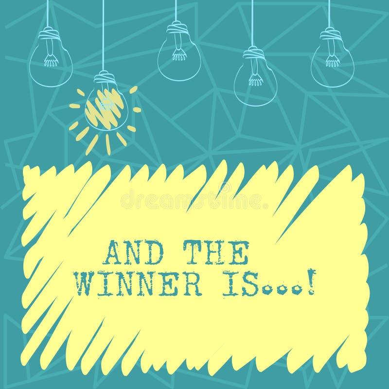 De handschrifttekst en de Winnaar zijn Concept die aankondigend betekenen wie eerste plaats bij de concurrentie of examenreeks va royalty-vrije illustratie