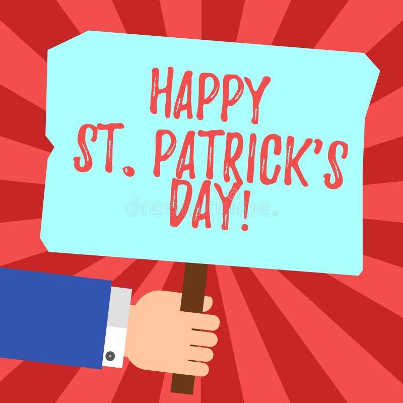 De handschrifttekst Gelukkige St Patrick S is Dag Concept die de vierings groene gelukkige charmes en klavers HU betekenen van Ie royalty-vrije illustratie