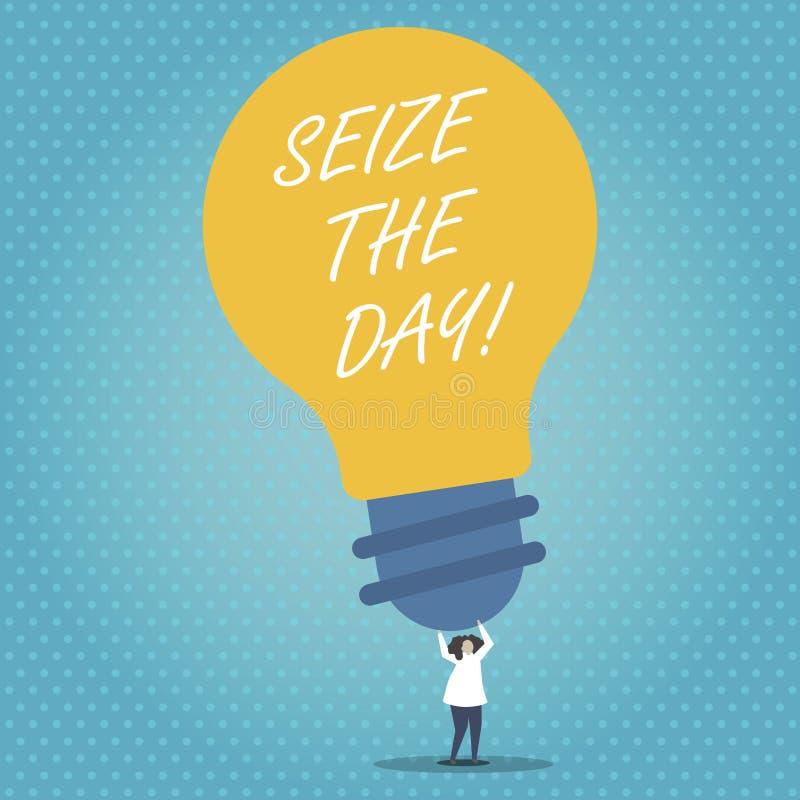 De handschrifttekst grijpt de Dag De conceptenbetekenis omhelst kansen heeft het optimisme van de motivatieinspiratie royalty-vrije illustratie