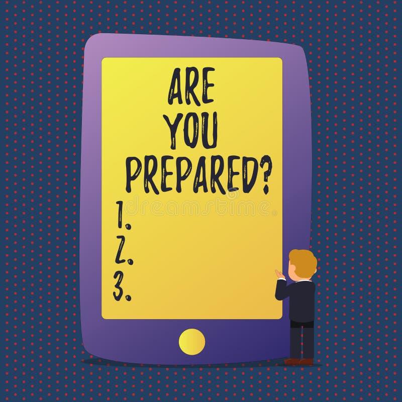 De handschrifttekst is u Preparedquestion Concept die Klaar de Beoordelingsevaluatie betekenen van de Voorbereid zijnbereidheid royalty-vrije illustratie