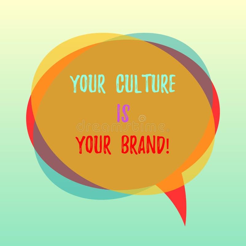 De handschrifttekst Uw Cultuur is Uw Merk E royalty-vrije illustratie
