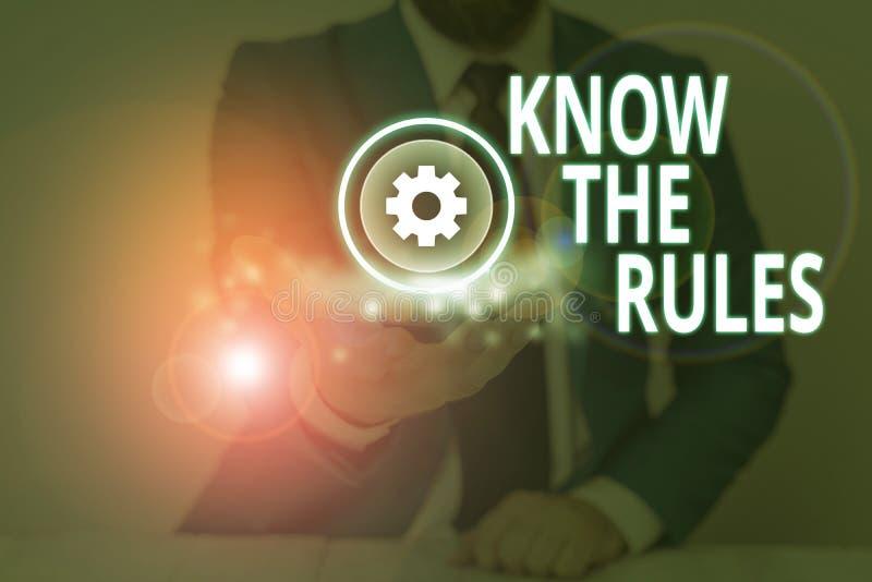 De handschrijvende tekst kent de Regels Begrip betekenis Leer het geaccepteerde principe of de instructies om te volgen stock foto's