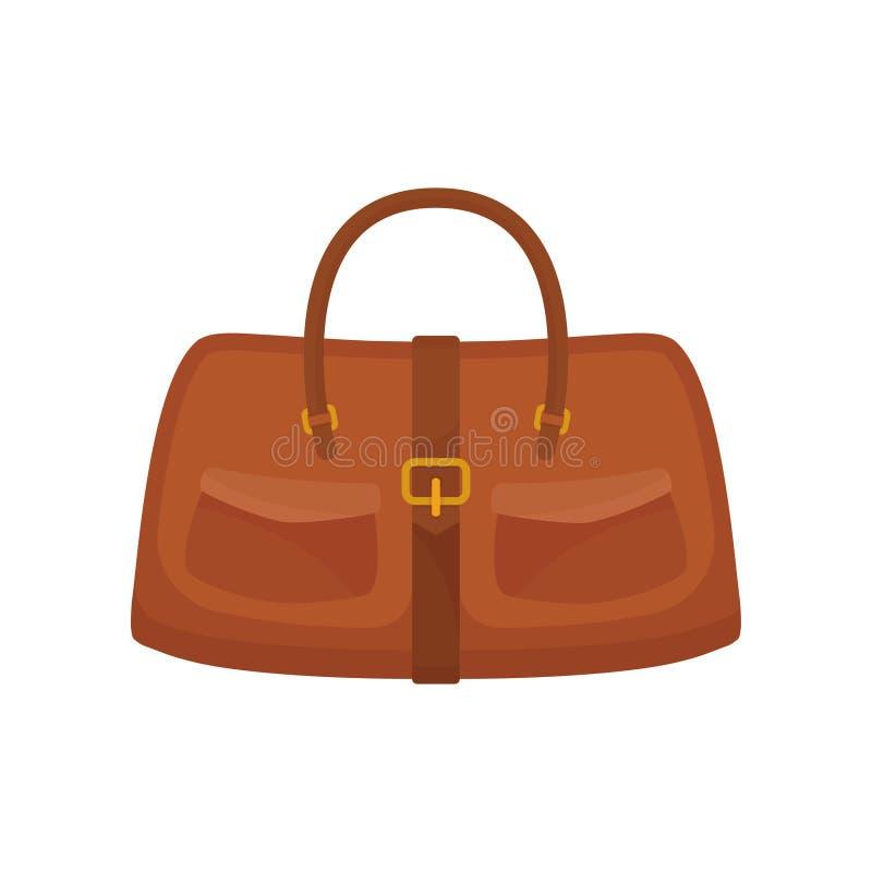 De handtas van leervrouwen Toevallige bruine zak met twee kleine zakken en riem Vrouwelijke toebehoren Beeldverhaal vectorontwerp stock illustratie