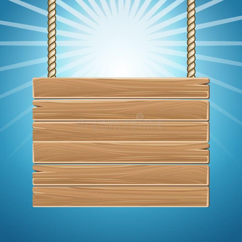 De hangende houten lege blauwe hemel van de tekenraad royalty-vrije illustratie