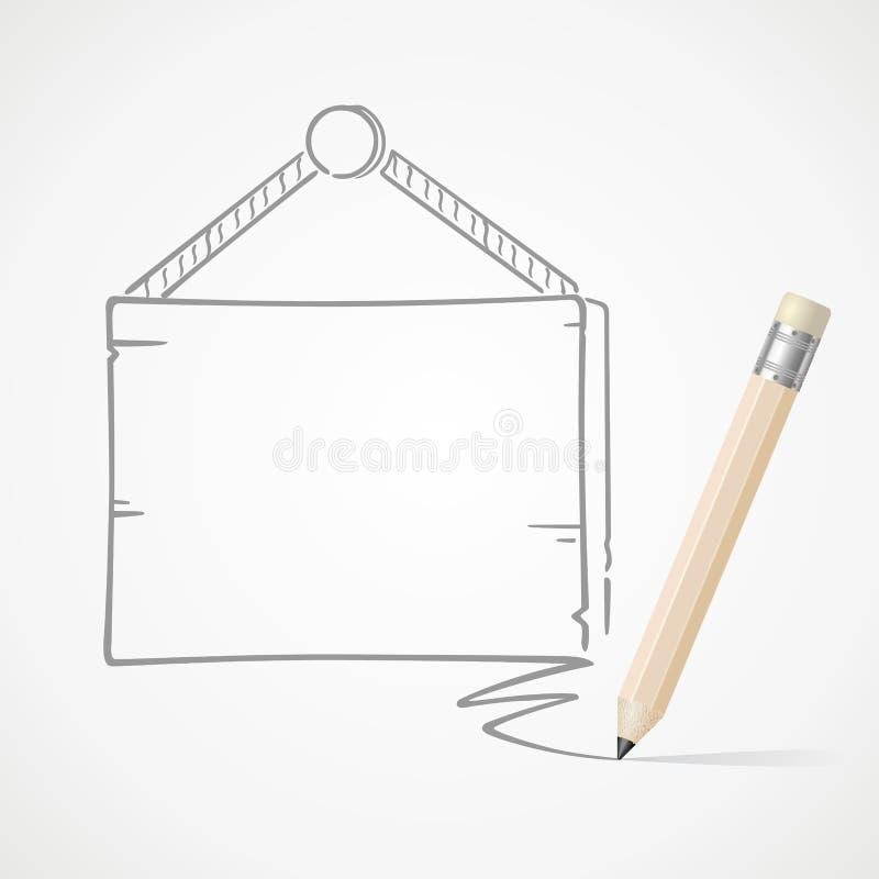 De hangende raad van de potloodtekening vector illustratie