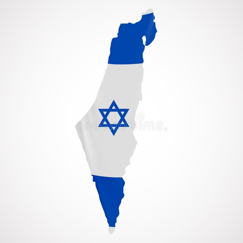 De hangende vlag van Israël in vorm van kaart Staat van Israël Israëlisch nationaal vlagconcept royalty-vrije illustratie