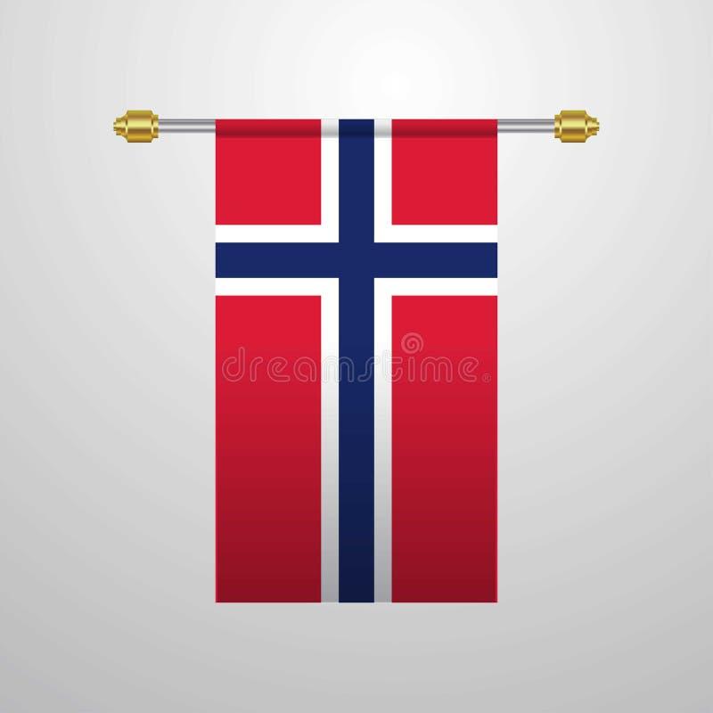 De hangende Vlag van Noorwegen royalty-vrije illustratie