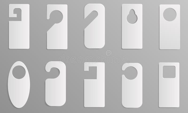De hanger etiketteert geplaatste pictogrammen, realistische stijl stock illustratie