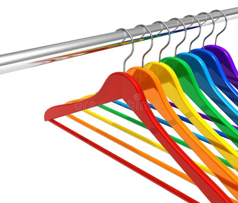 De hangers van de regenboog op klerenspoor royalty-vrije illustratie