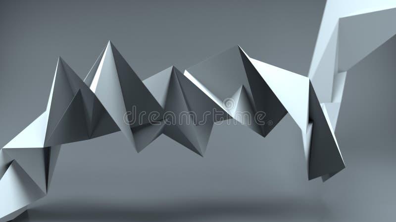 De harde oppervlakte verdraaide grijze 3D vorm teruggeeft illustratie vector illustratie