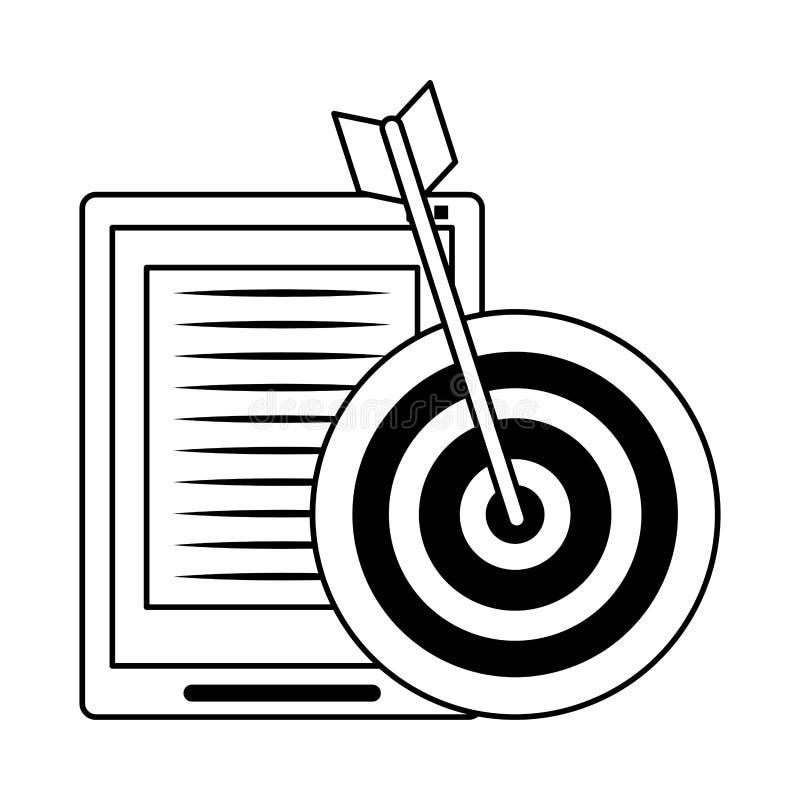 De hardwarebeeldverhaal van de tablet mobiel technologie in zwart-wit stock illustratie