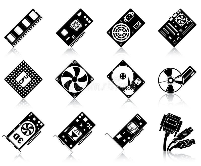 De hardwarepictogrammen van de computer stock illustratie
