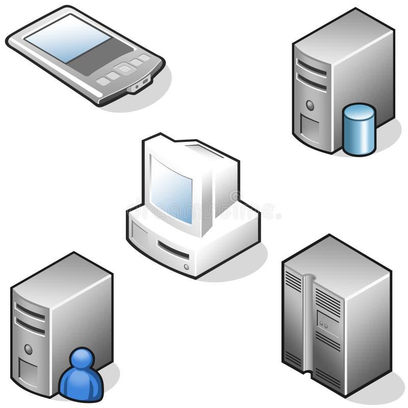 De hardwarepictogrammen van gegevens stock illustratie