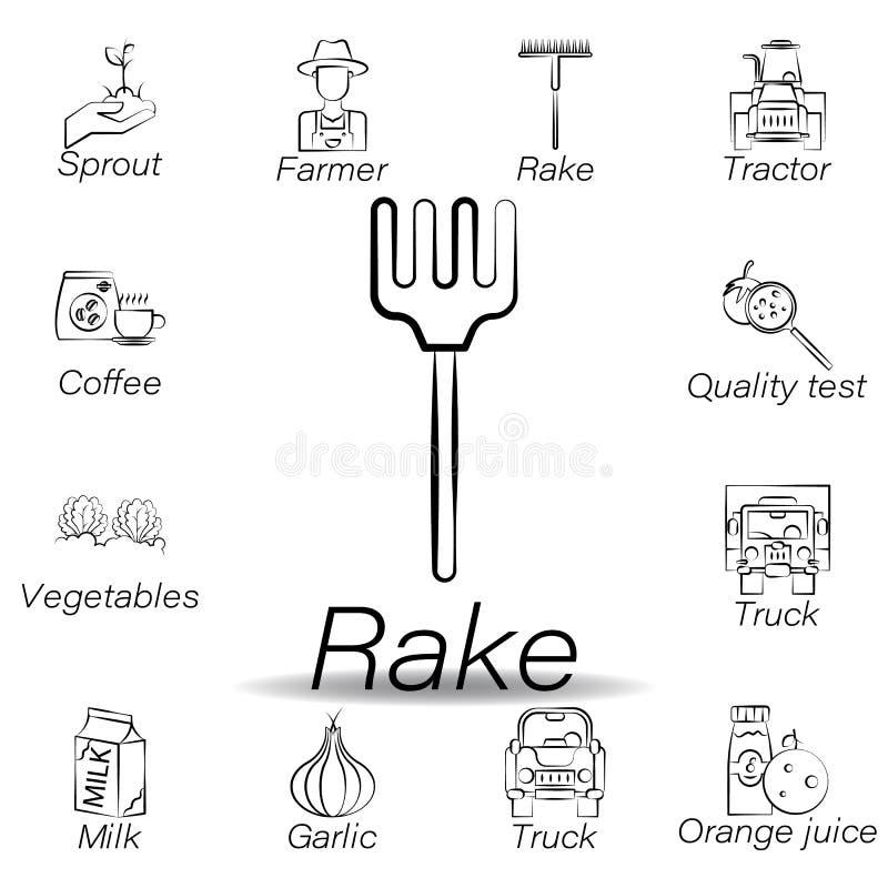 De harkhand trekt pictogram Element van de landbouw van illustratiepictogrammen De tekens en de symbolen kunnen voor Web, embleem vector illustratie
