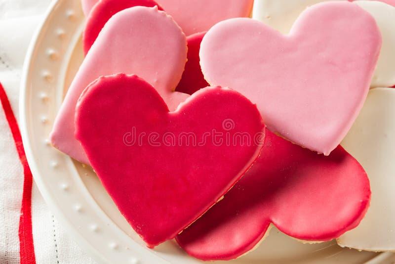 De hart Gestalte gegeven Dag Sugar Cookies van Valentine royalty-vrije stock foto
