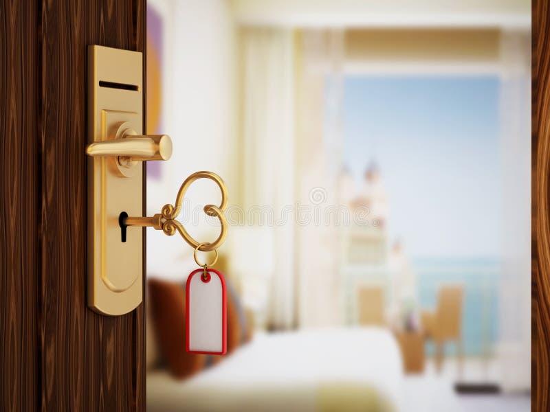 De hart gestalte gegeven sleutel van de hotelruimte stock foto