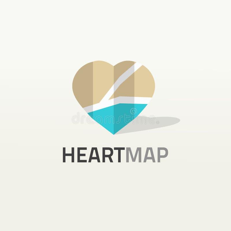 De hart gestalte gegeven vectorillustratie van het kaartembleem, de plaats van de stadsliefde logotype vector illustratie