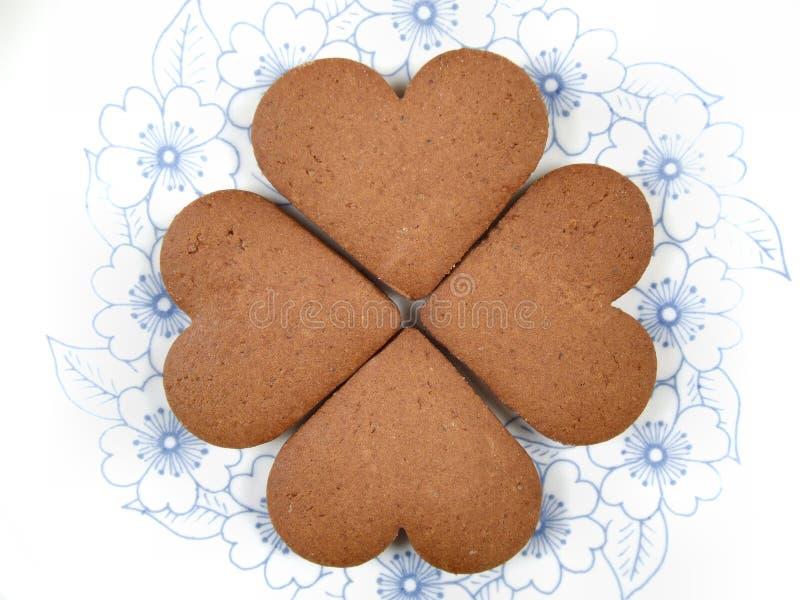 De hart gevormde koekjes van de Valentijnskaart royalty-vrije stock fotografie
