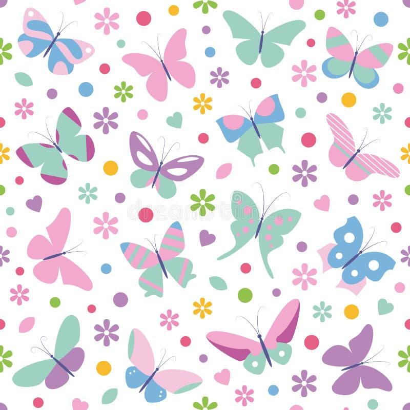 De harten en de puntenpatroon van vlindersbloemen royalty-vrije illustratie