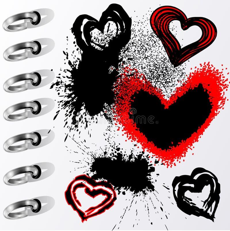 De harten en de vlekken van Grunge stock illustratie