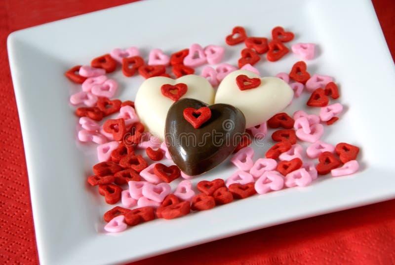 De harten van de chocolade stock afbeeldingen