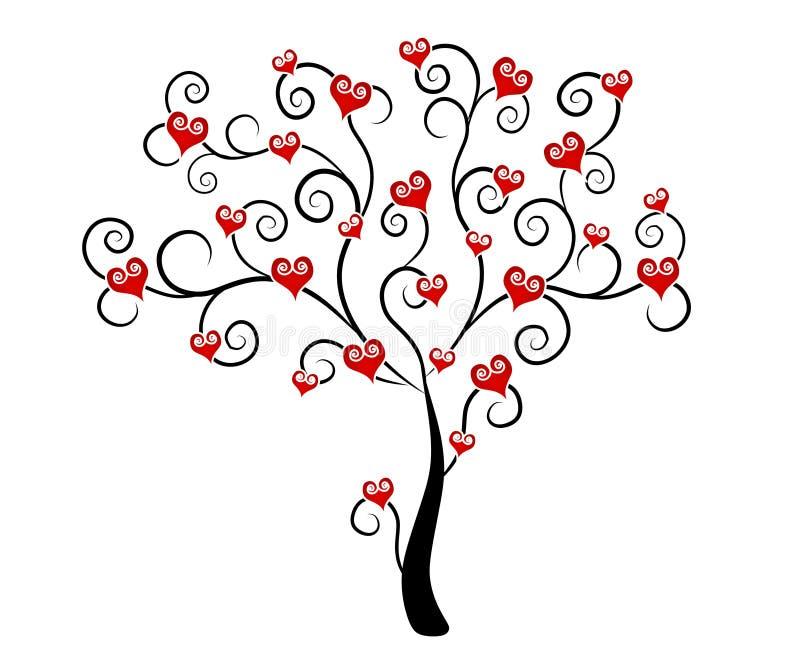 De Harten van de Dag van de valentijnskaart op het Art. van de Klem van de Boom vector illustratie