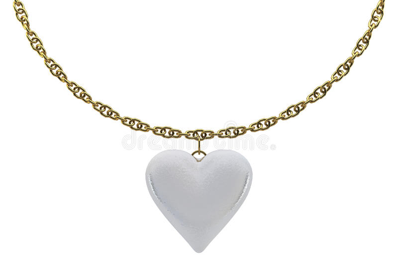 De harten van de parel met een gouden ketting royalty-vrije stock afbeelding