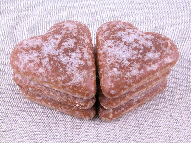 De harten van de peperkoek stock afbeelding