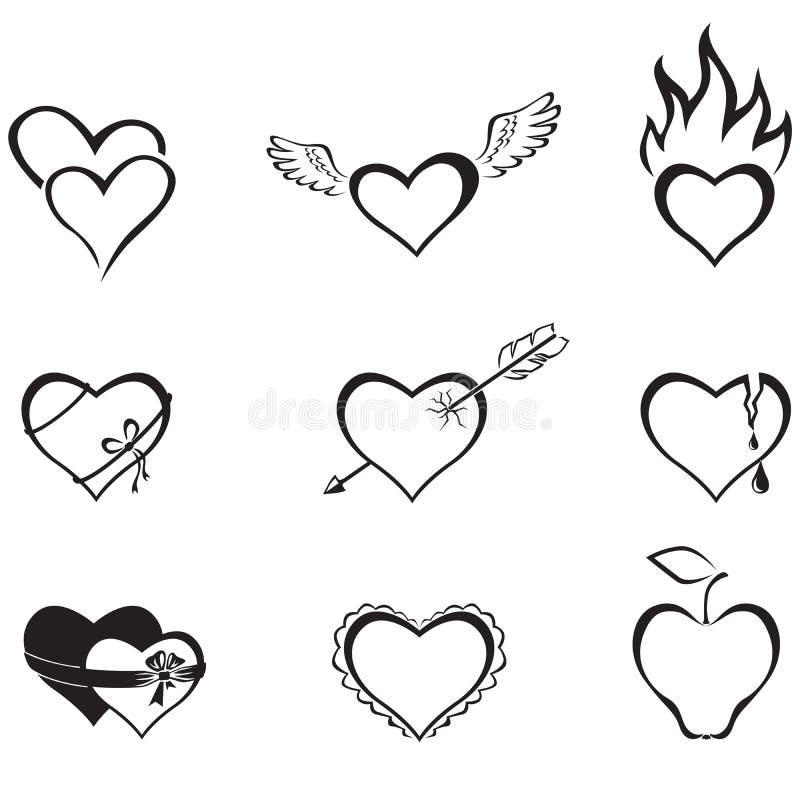 De harten van de pictogrammen stock illustratie