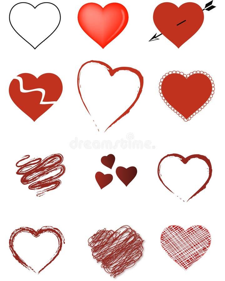 De Harten van de valentijnskaart stock fotografie