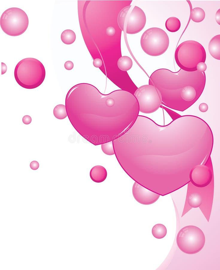 De harten van de valentijnskaart en bloemen royalty-vrije illustratie