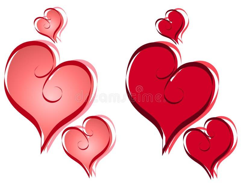 De Harten van de Valentijnskaart van de kalligrafie knippen Art. royalty-vrije illustratie