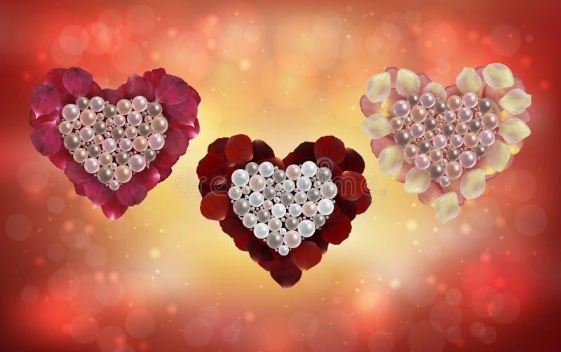De harten van parels en namen bloemblaadjes toe vector illustratie