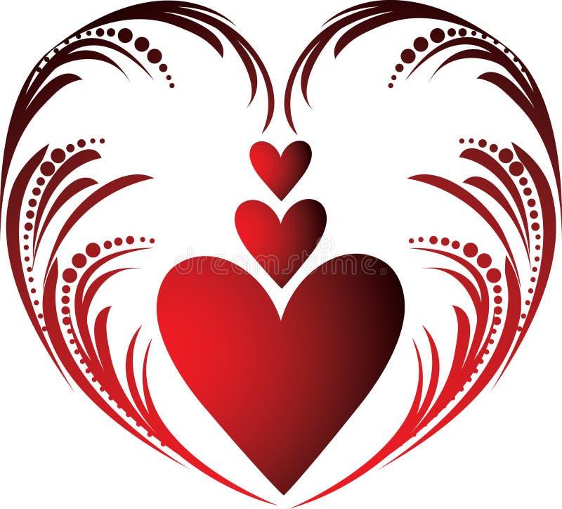De harten van valentijnskaarten stock illustratie