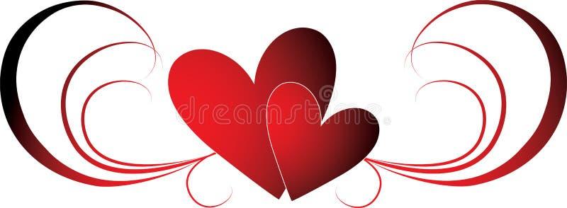 De harten van valentijnskaarten royalty-vrije illustratie