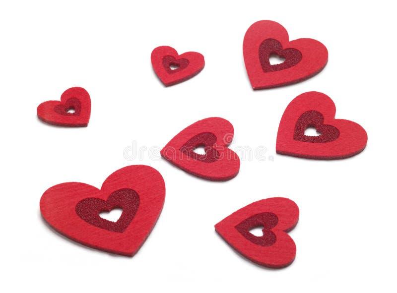 De harten van valentijnskaarten stock fotografie