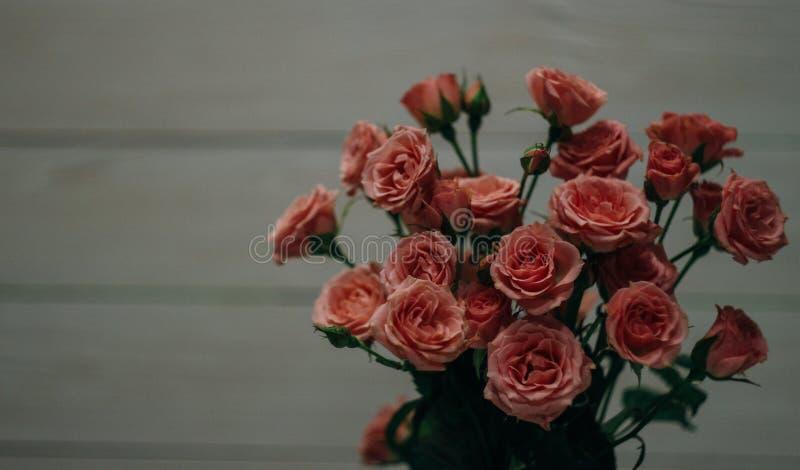 De harten van Valentine ` s hangin op natuurlijke koord Houten witte achtergrond Retro stijl royalty-vrije stock afbeelding
