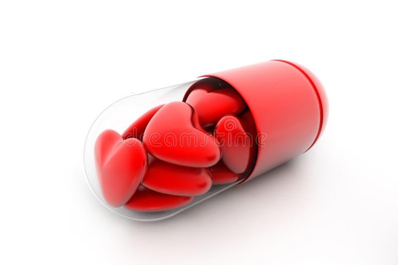 De harten vulden pil in vector illustratie