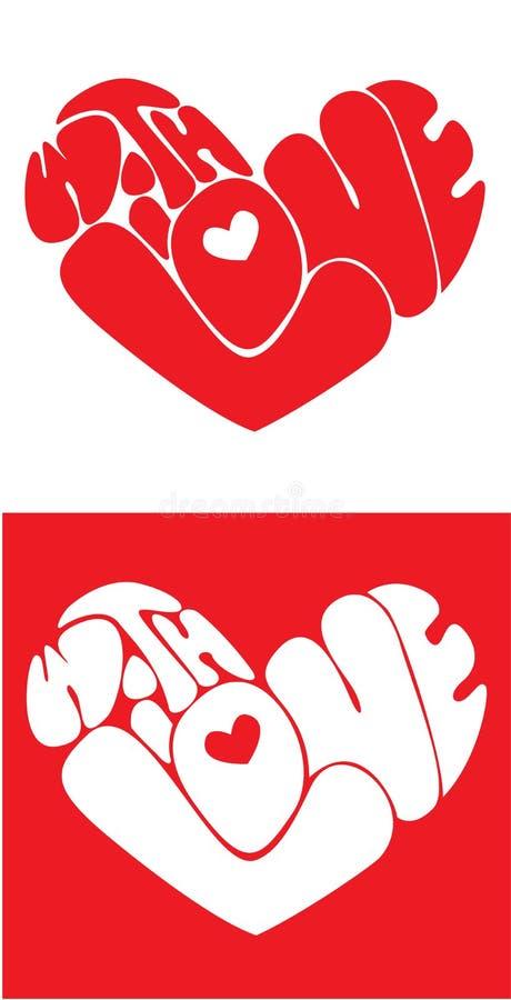 De harten worden gevormd van met liefdeTekst stock illustratie