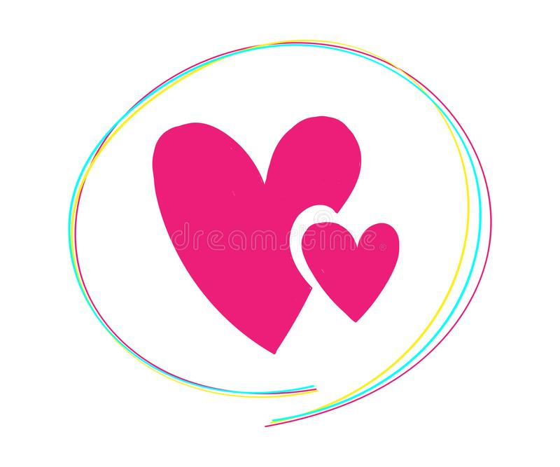 De de hartenkrabbels van de valentijnskaartendag plaatsen, hand getrokken pictogrammen en illustraties voor valentijnskaarten en  royalty-vrije stock afbeelding