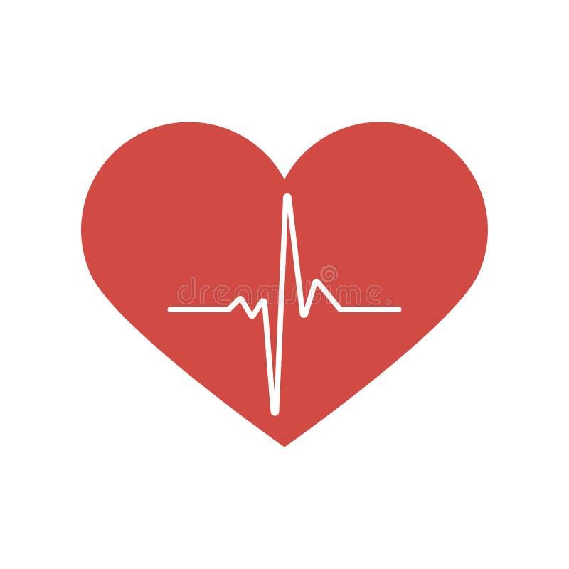 De hartslag/het hart slaat impuls vlak vectorpictogram voor medische apps en websites royalty-vrije illustratie