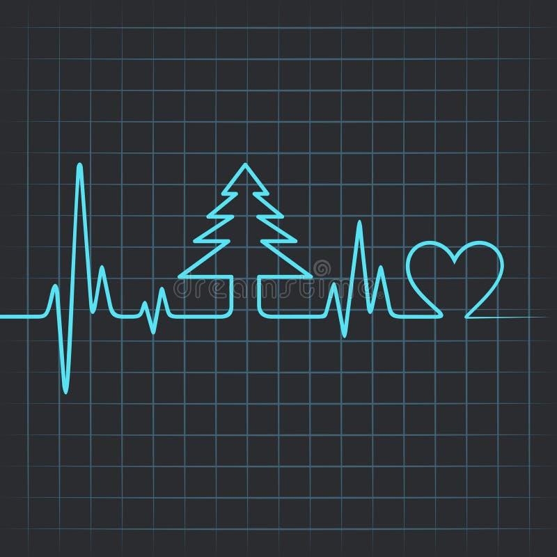 De hartslag maakt Kerstmissymbolen vector illustratie