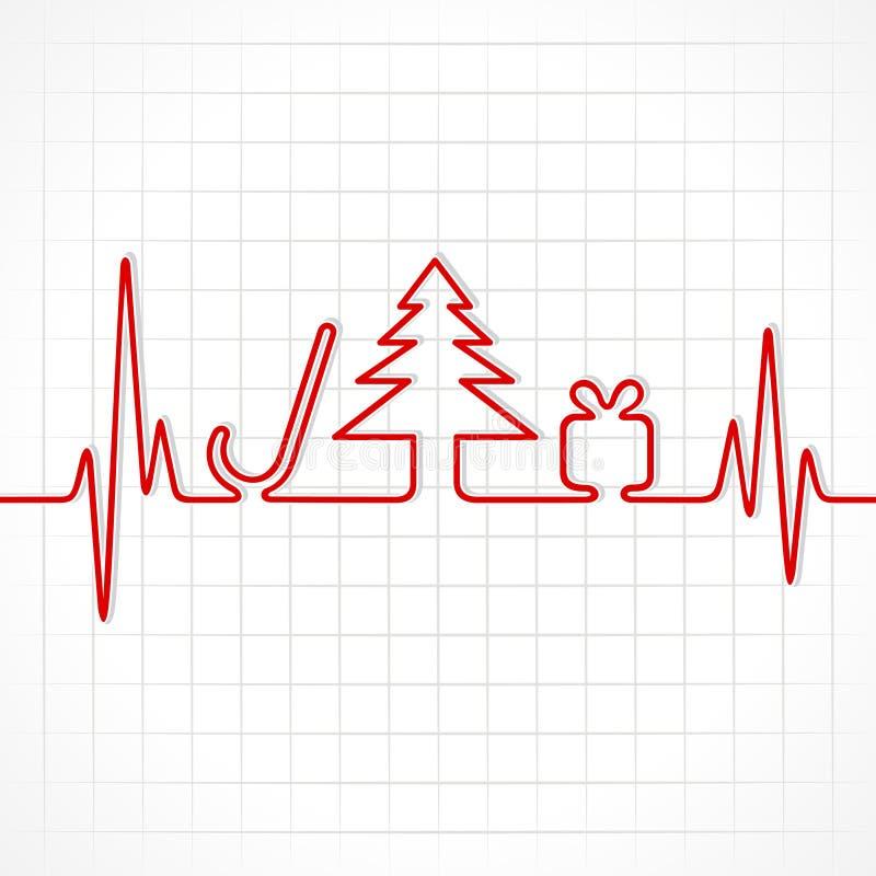 De hartslag maakt Kerstmissymbolen stock illustratie