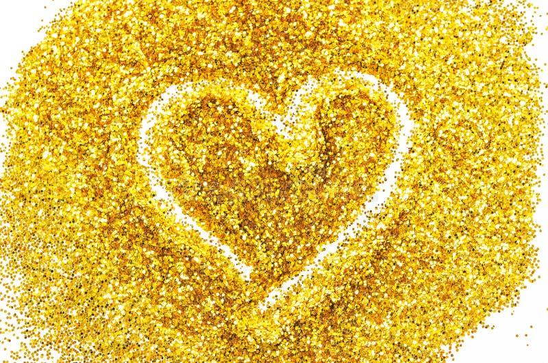 De hartvorm in Goud wordt geschetst dat schittert stock afbeelding