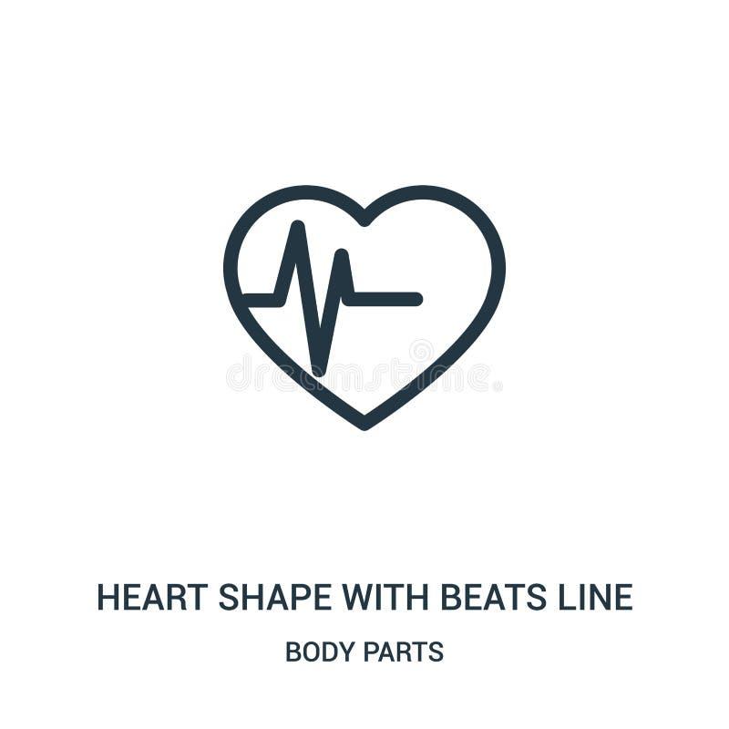 de hartvorm met slaat de vector van het lijnpictogram van lichaamsdeleninzameling De dunne vorm van het lijnhart met slaat het pi vector illustratie